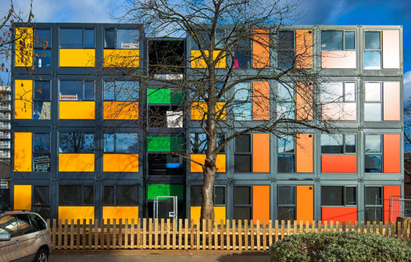 Meath Court shipping container housing development in Ealing, London