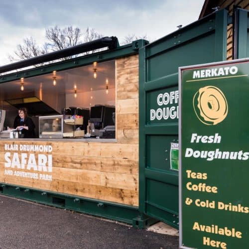 Container cafe at Blair Drummond Safari Park, designed and manufactured by ISO Spaces