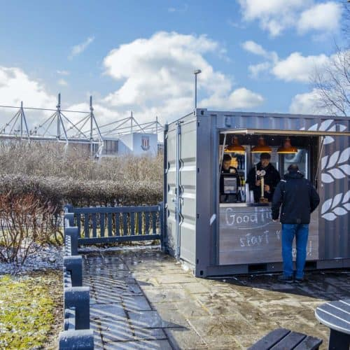 Harvester shipping container cafe