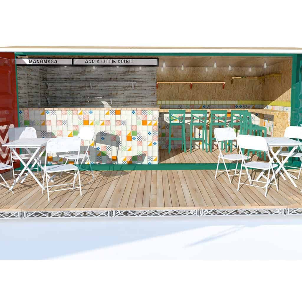 manomasa, shipping container bar