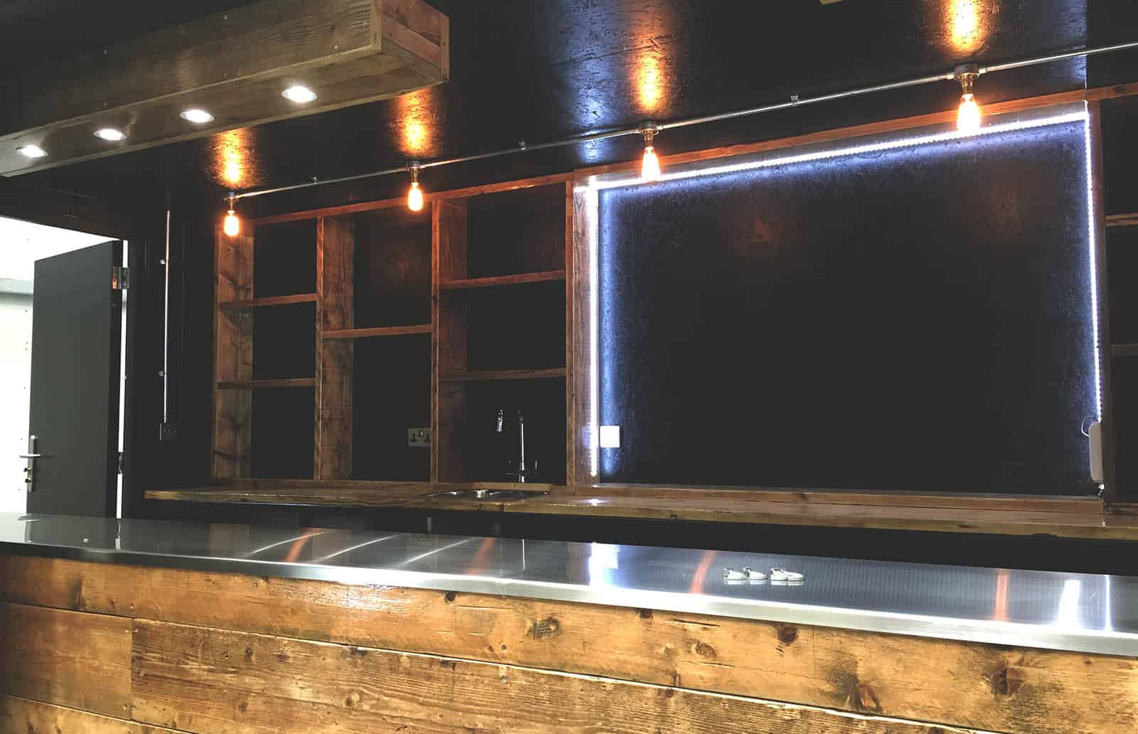 Bespoke shipping container bar for fevertree interier