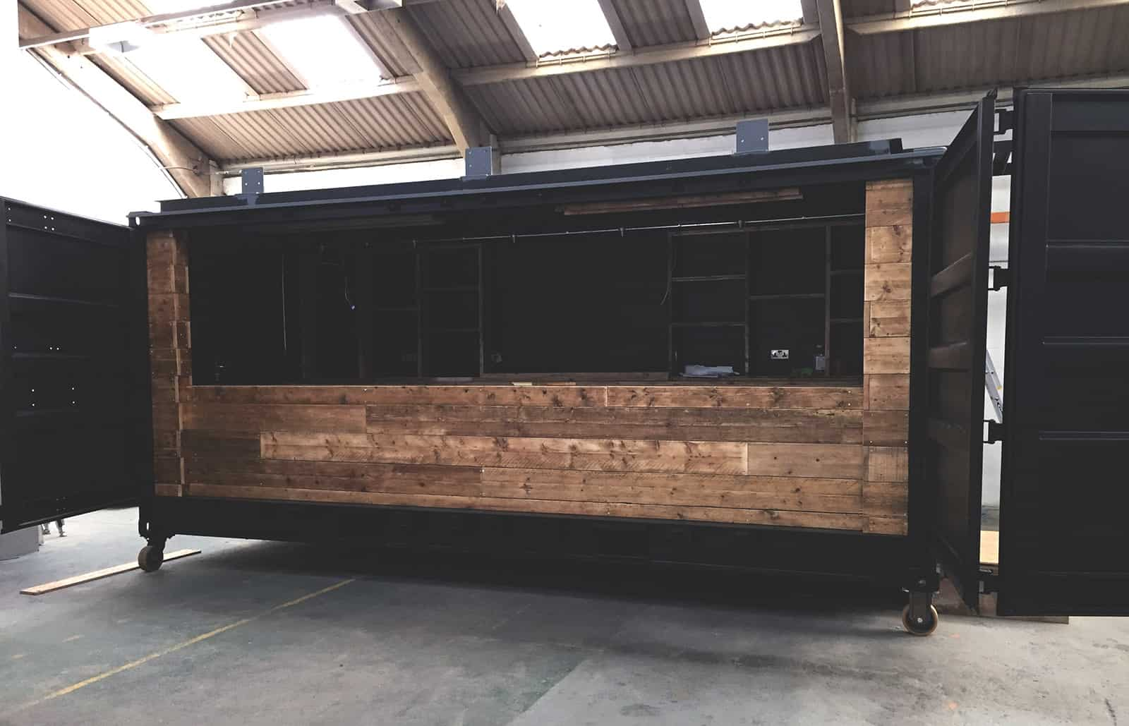 Bespoke shipping container bar for fevertree construction