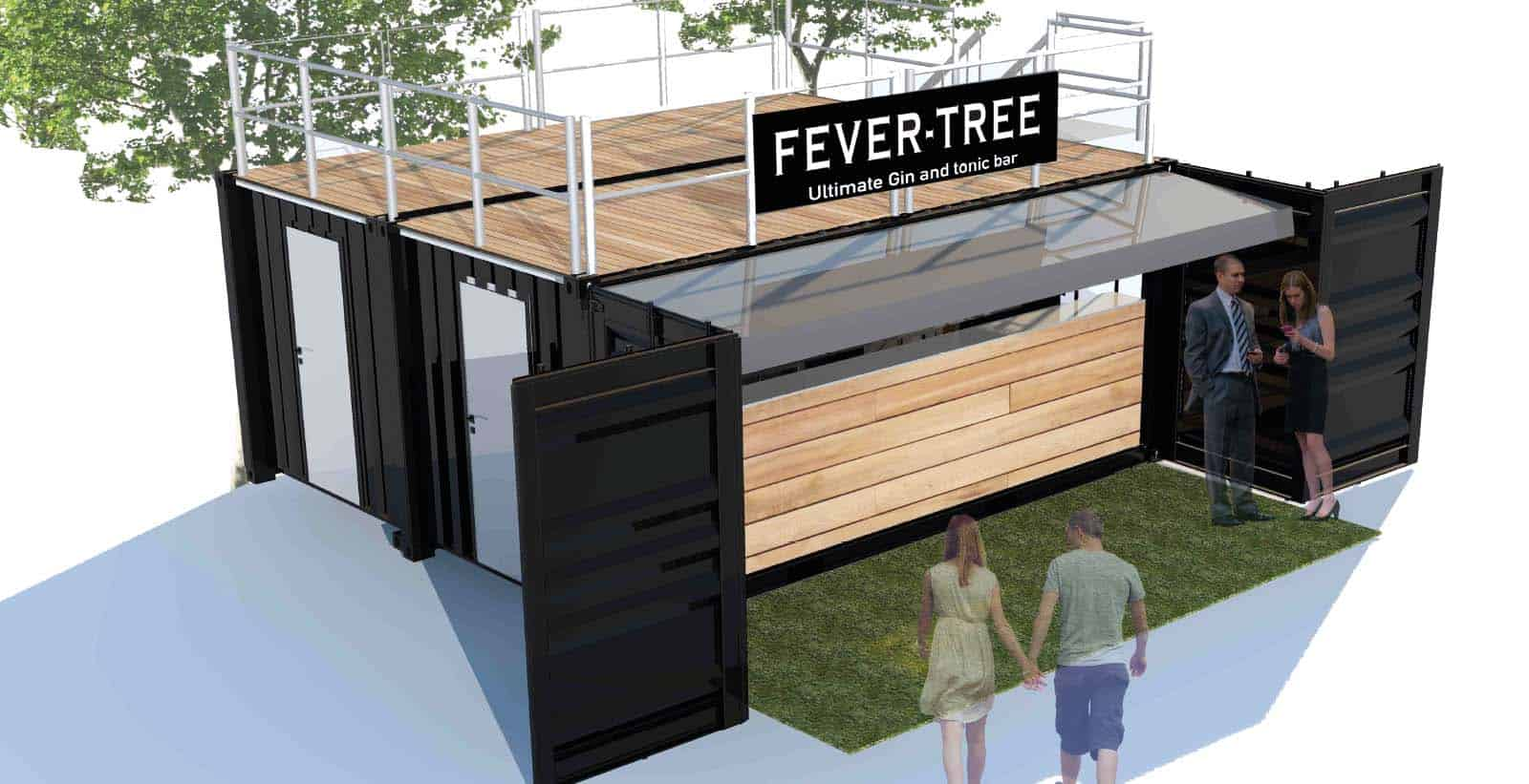 Bespoke shipping container bar for fevertree designs