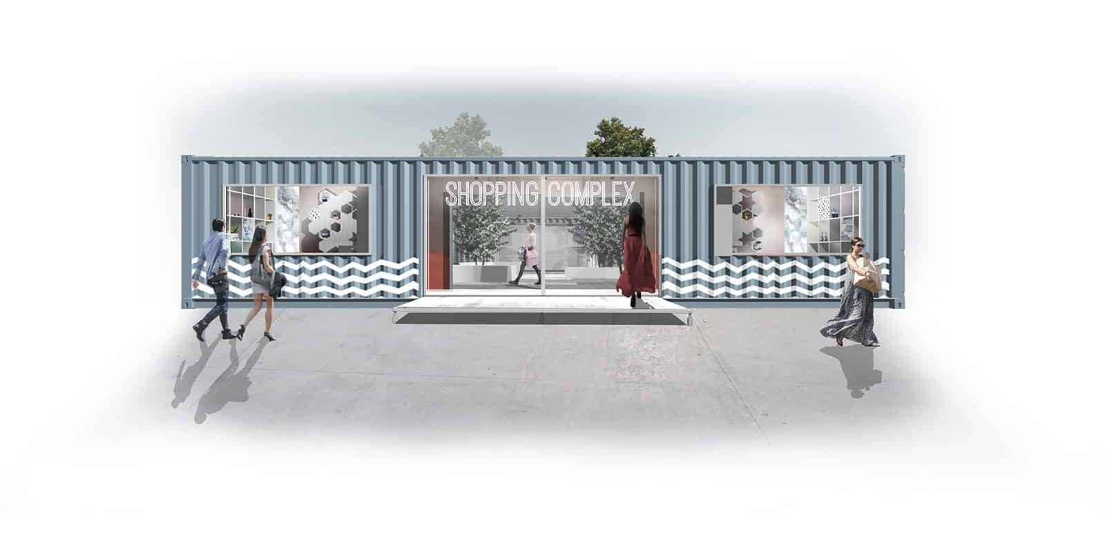 shipping container mall front concept design