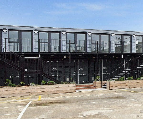 Shipping container offices at watermill wharf