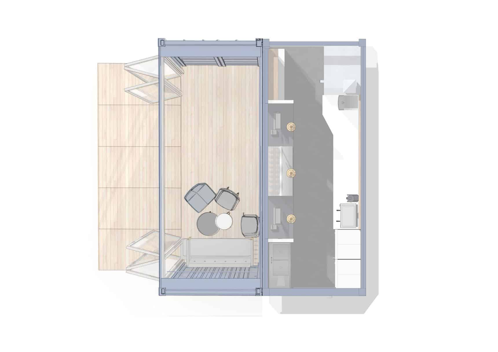 Coffee shop container conversion - plan view