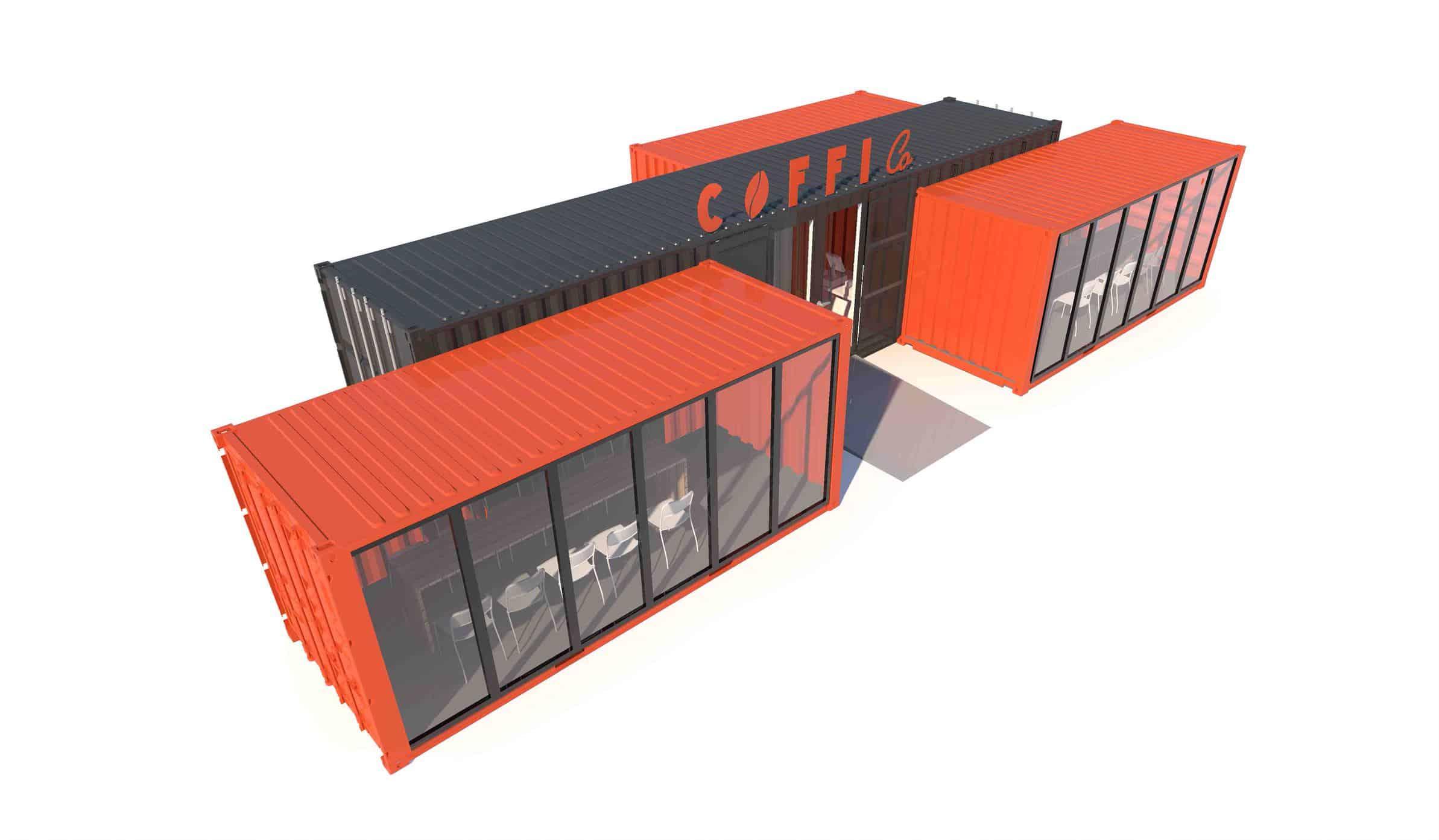 Concept design of a shipping container coffee shop
