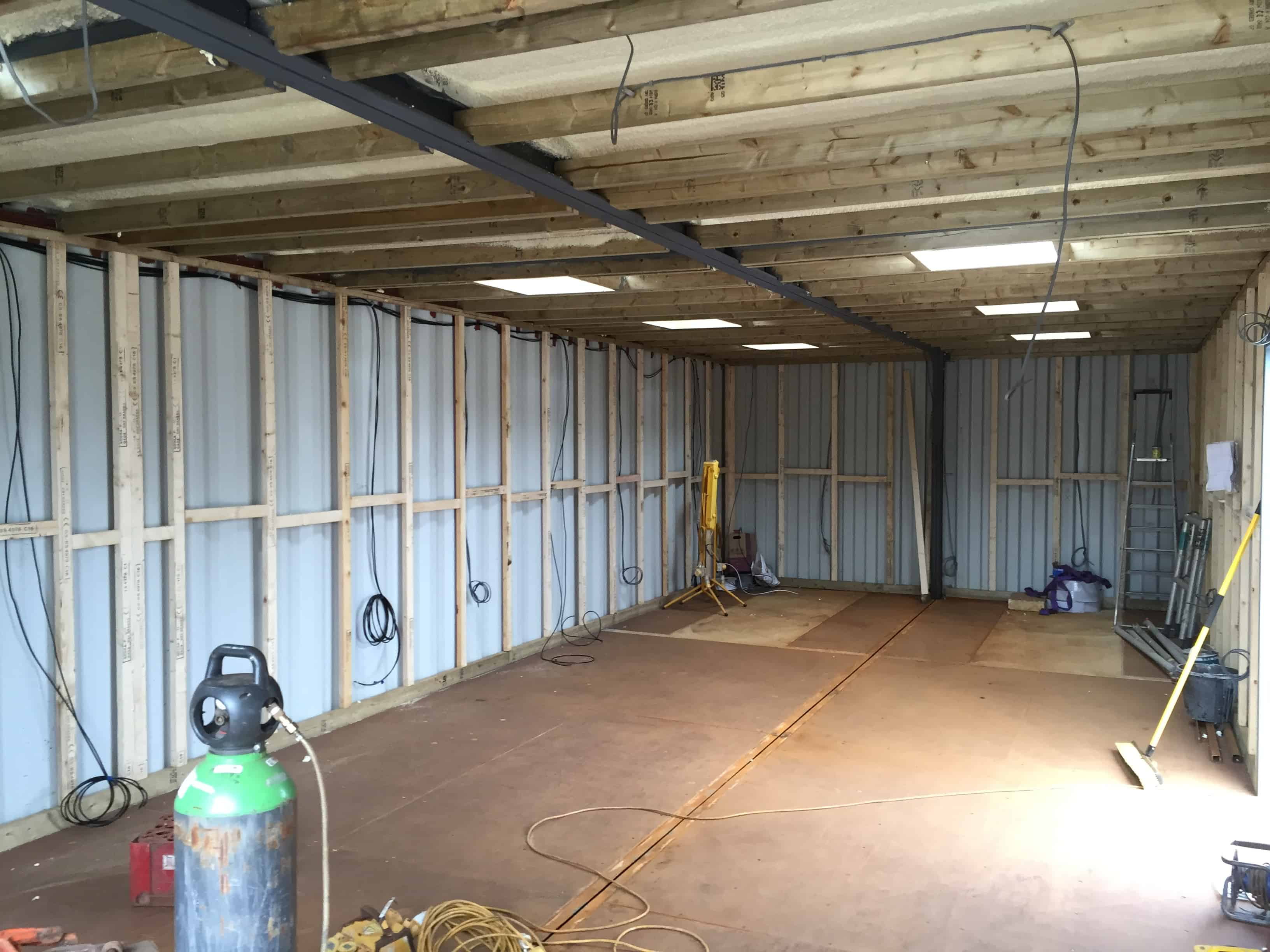 Shipping container classroom conversion in the build process