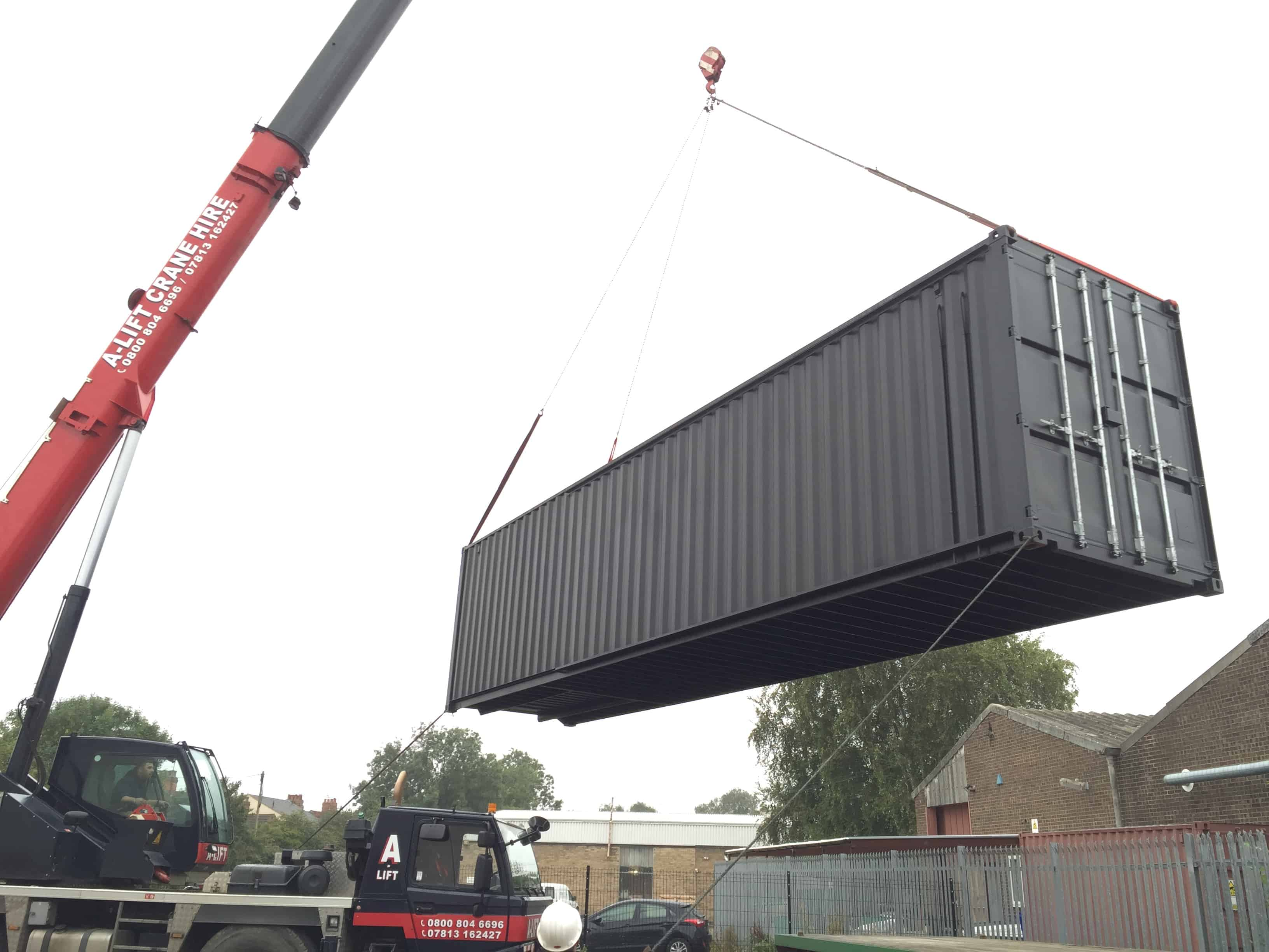 Shipping container classroom installation