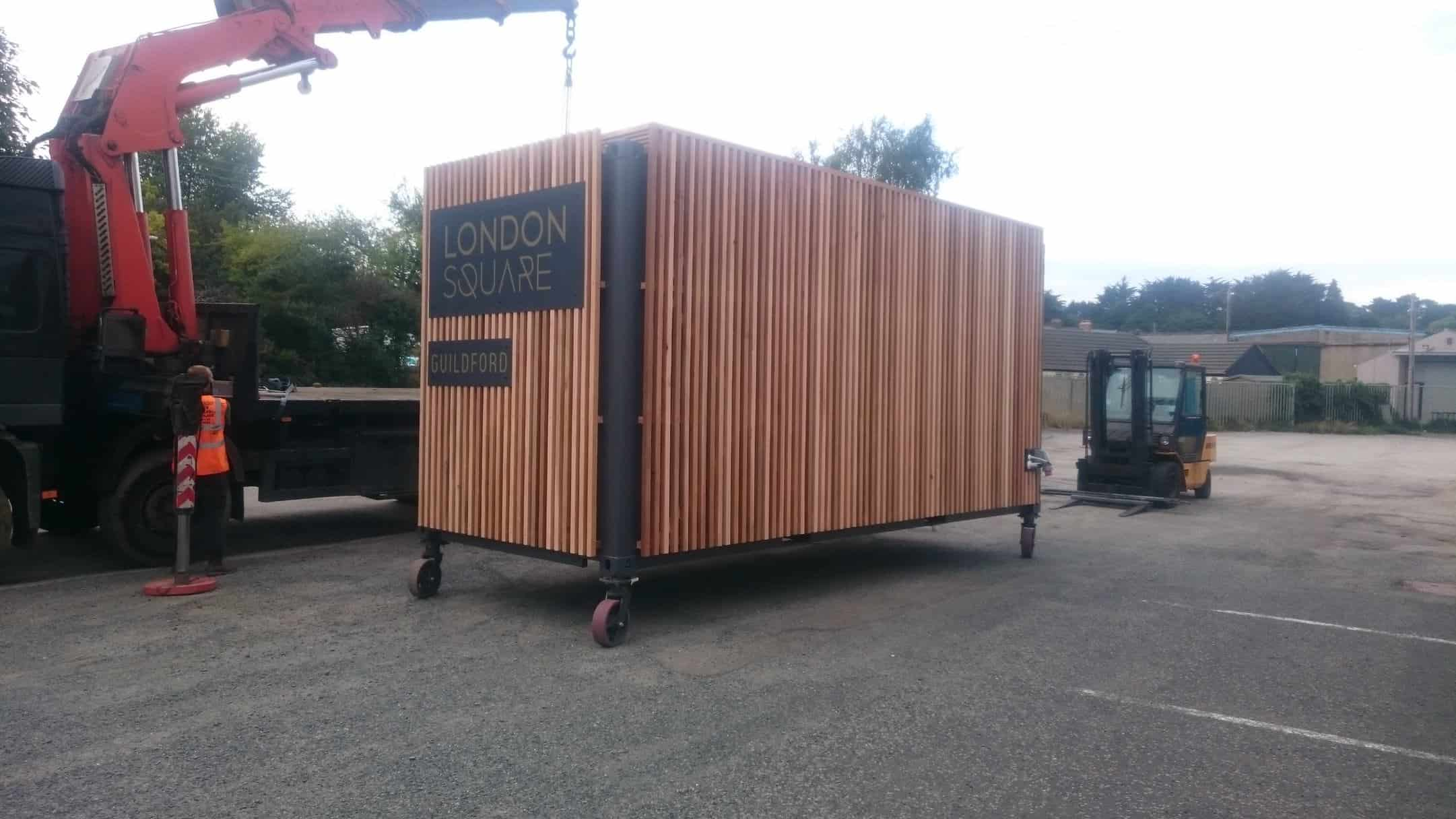 Shipping container conversion about to be transported