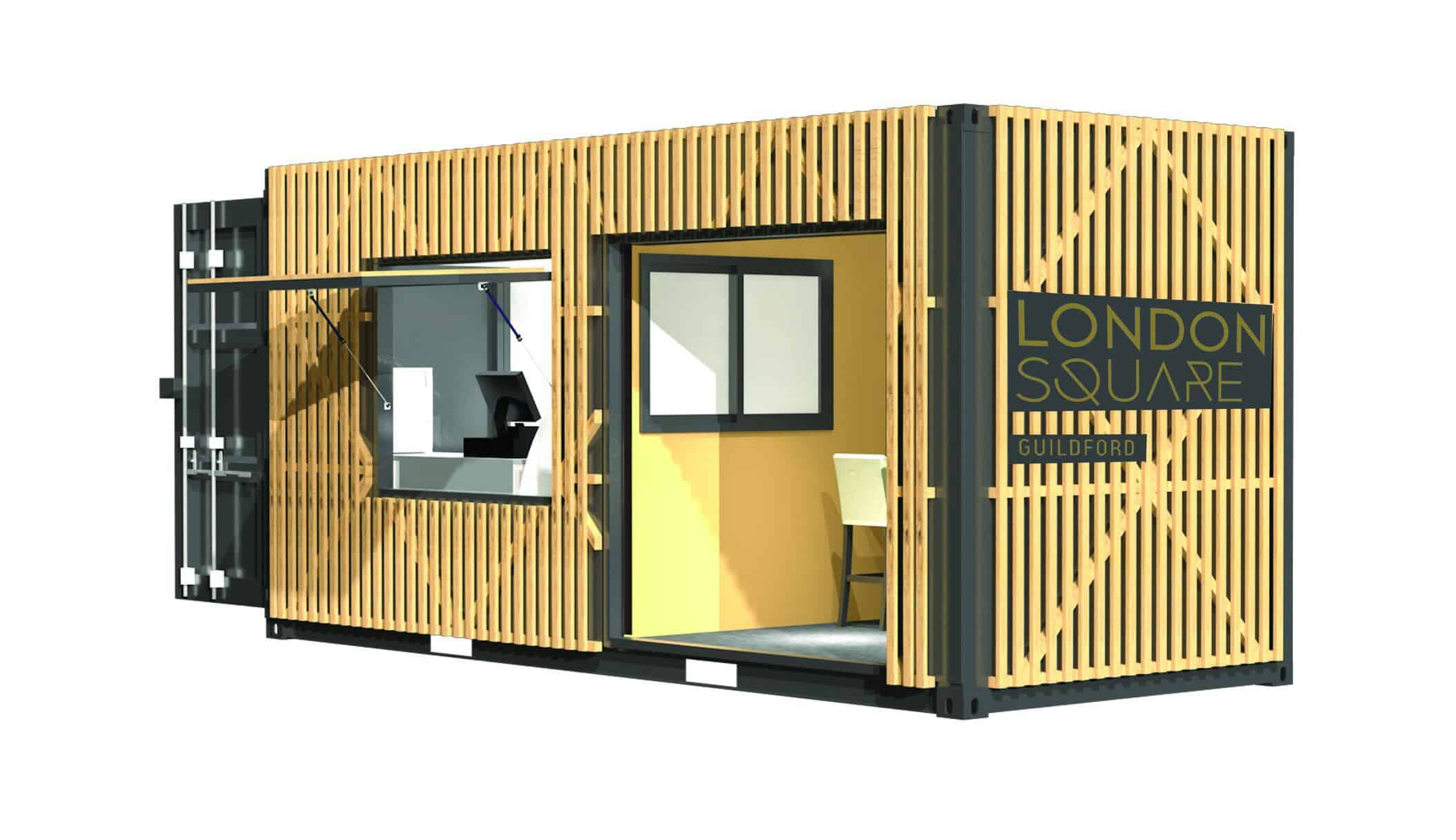 Concept design of shipping container cafe conversion