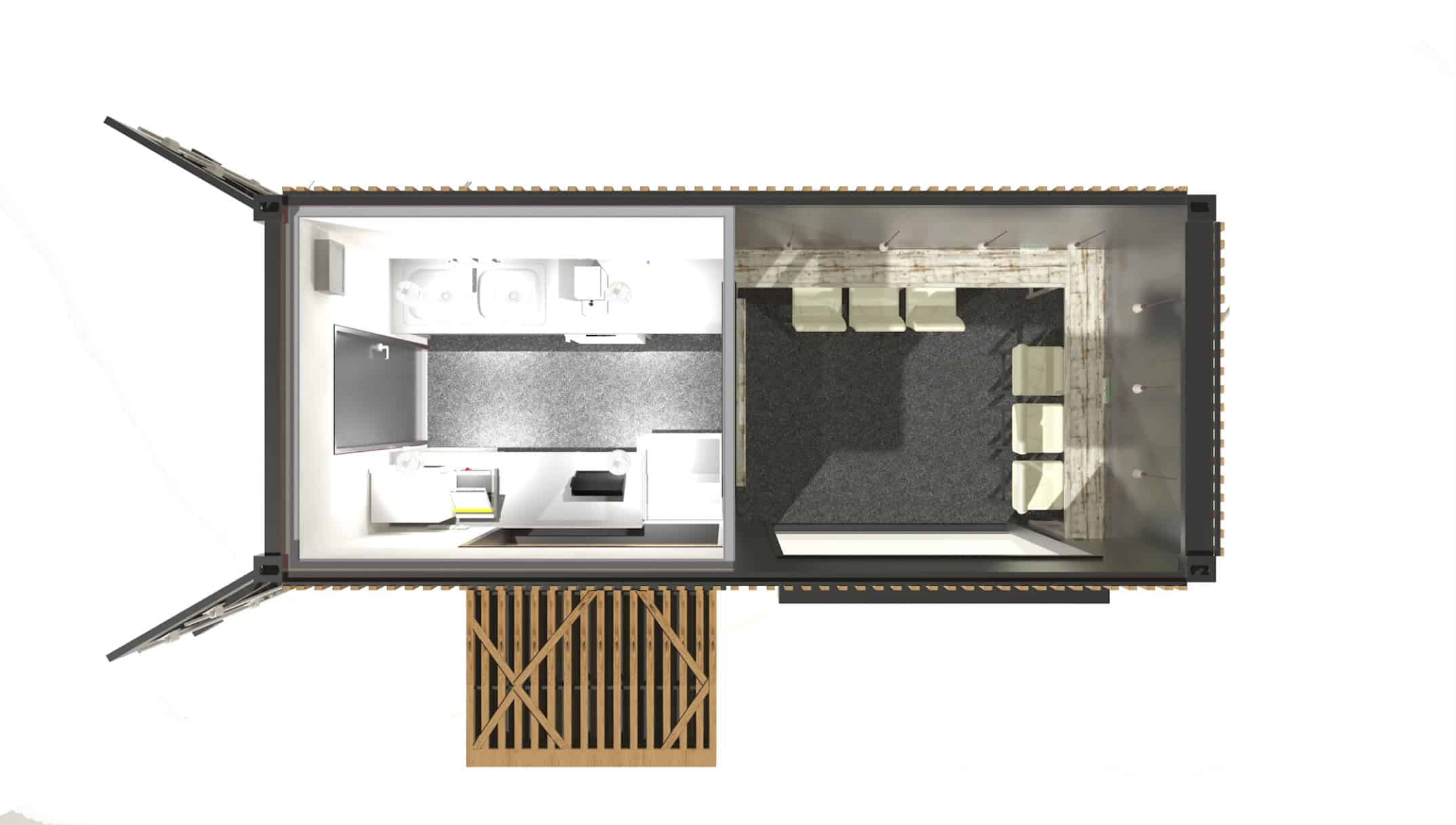 Plan view of a shipping container cafe design