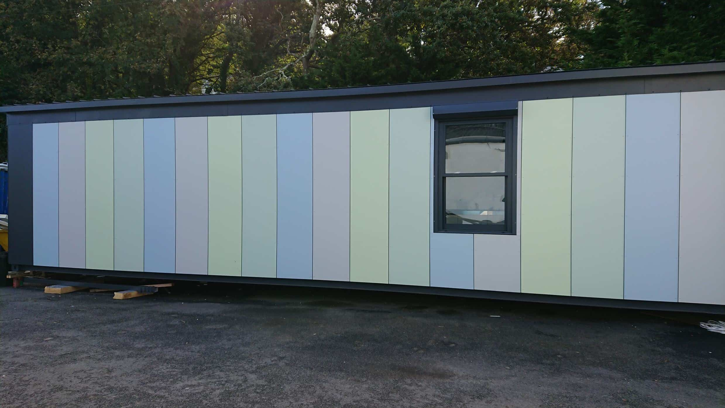 Shipping container conversion ready to be transported