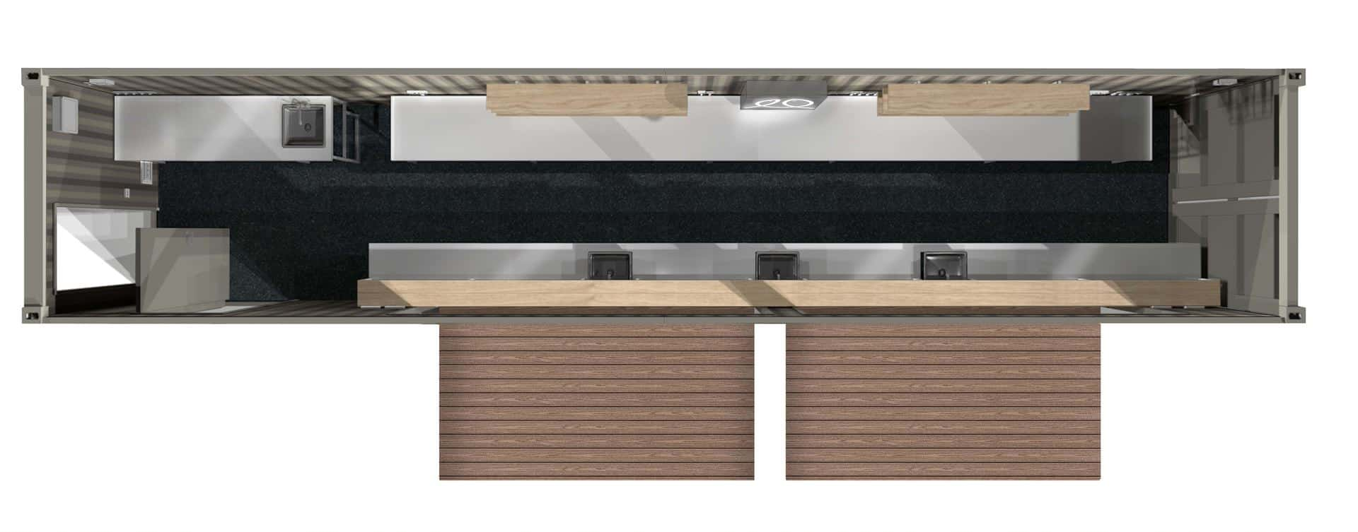 Plan view of a concept design of a shipping container bar conversion