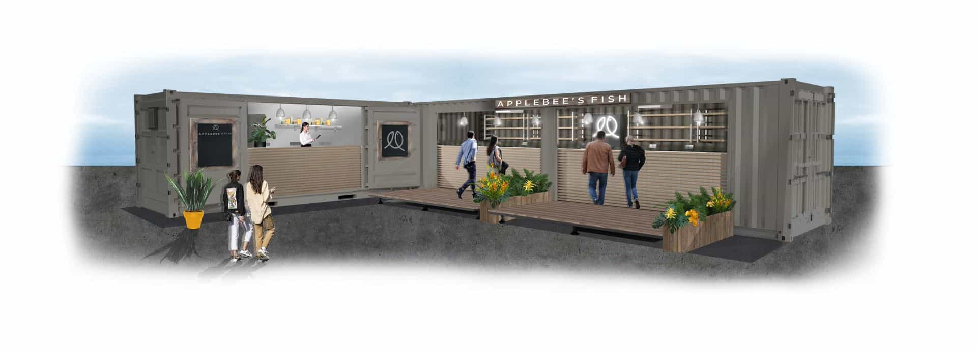 Concept design of a shipping container bar and fish and chip shop