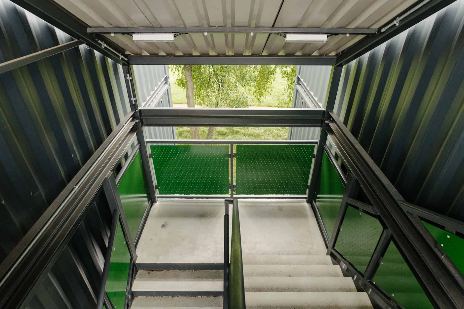 Walkways of shipping container accommodation