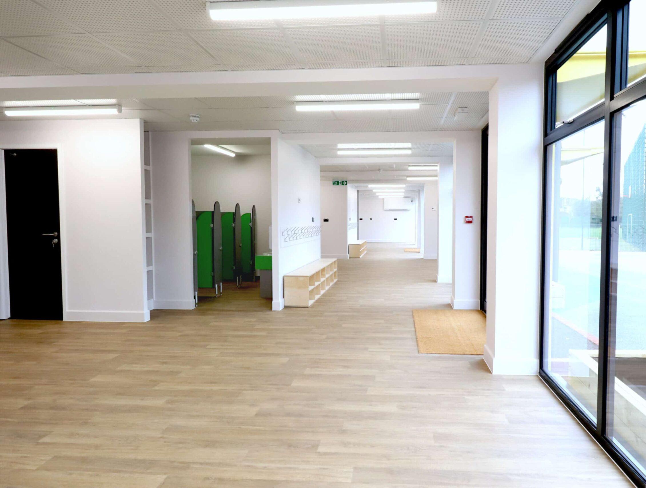 Interior view of modular education facility